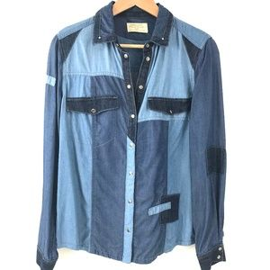 Western Style Denim Chambray Colorblock Shirt